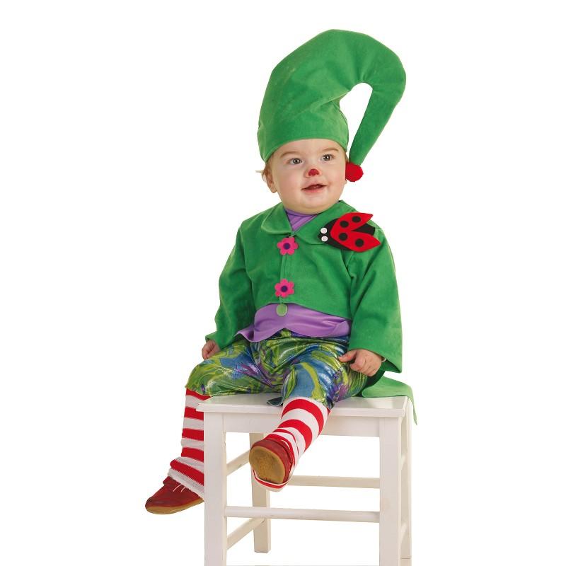 Disfraz duende verde bebe 0 a 12 meses midisfraz - Disfraces navidenos para bebes ...