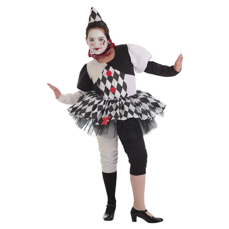 4a41d7df8b Disfraz de Pierrot Blanco y Negro con Falda para Niña - MiDisfraz