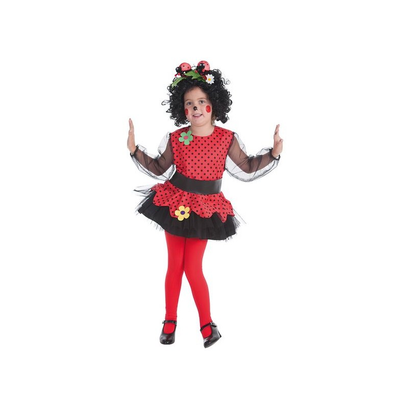 Disfraz de mariquita rojo y lunares negros para ni a - Disfraz de mariquita de nina ...