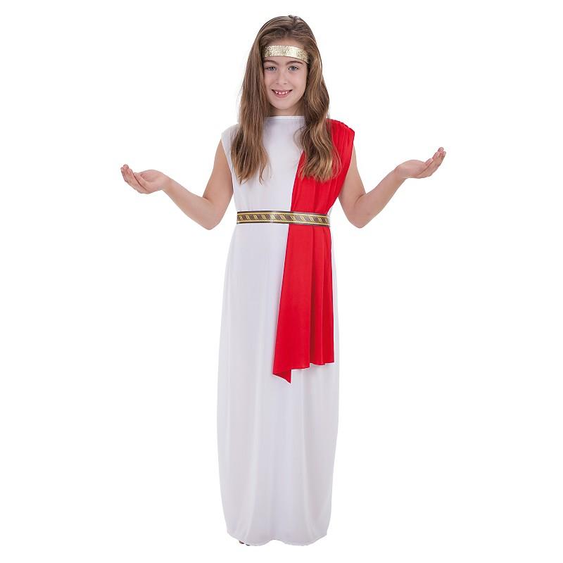 d37989317db Disfraz de Griega con Túnica Blanca y Cinta para Niña - MiDisfraz