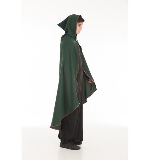 Capa Medieval Verde Ribete Piel Adulto T-Xl