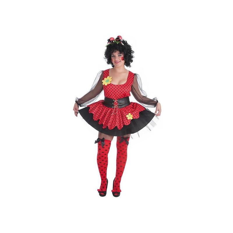 23300d163 Disfraz de Mariquita Rojo y Negro con Saya para Mujer - MiDisfraz
