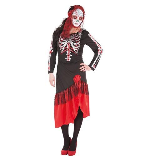Disfraz De Catrina Con Sobrefalda Y Medias Para Mujer