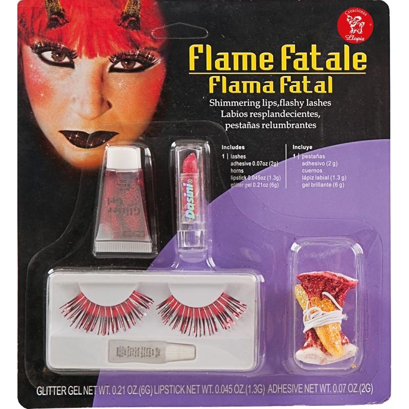 Maquillaje De Diablesa Con Cuernos Y Pestañas Rojas Midisfraz