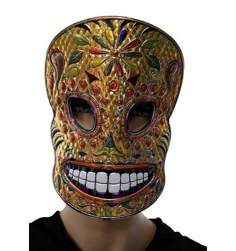 Máscara Catrina dorada/naranja dientes blancos H0022