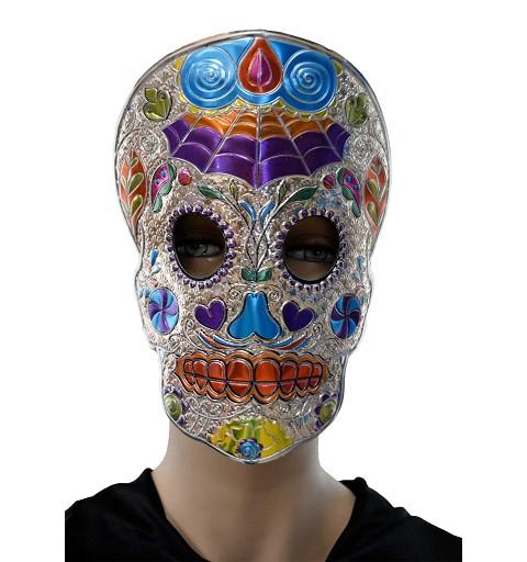Máscara Catrina plata/azul H0062