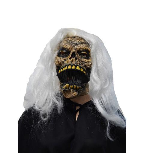 Máscara calavera marrón c/pelo H0124