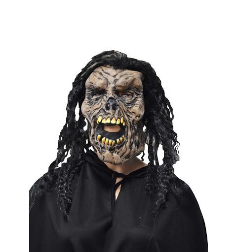 Máscara marrón c/pelo negro rizado H0125