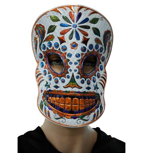 Máscara Catrina blanca/naranja H0160