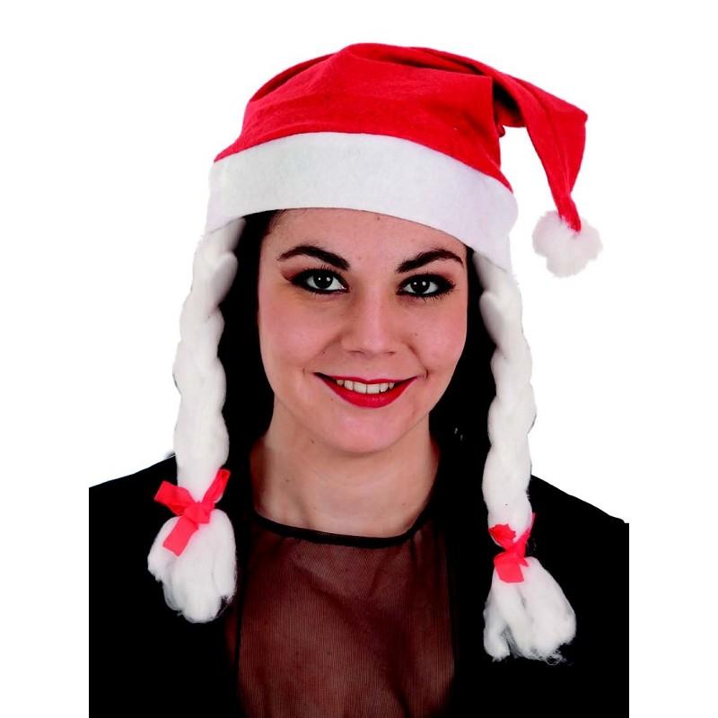 e585c0f8ebaed Gorro de Mamá Noel Rojo con Trenza Blancas para Mujer - MiDisfraz