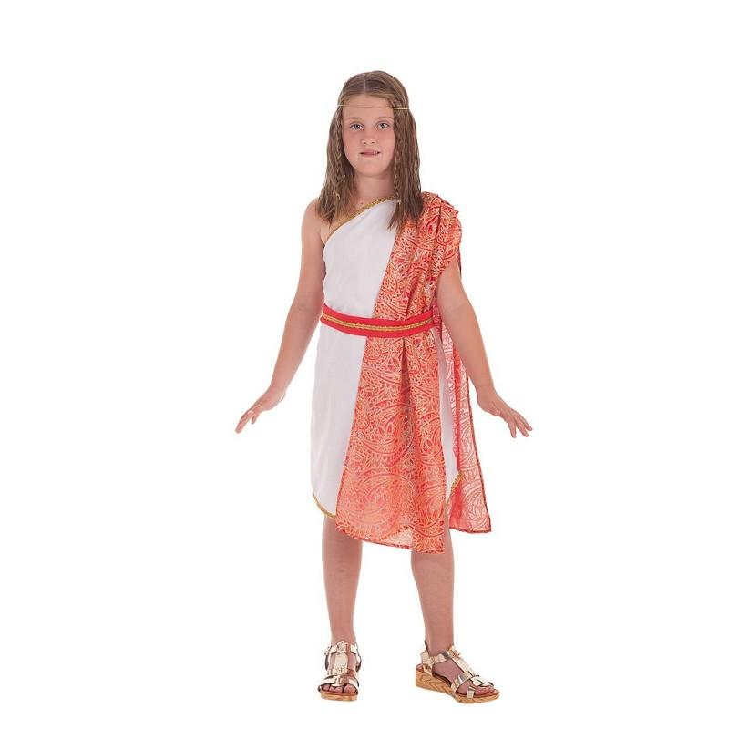 0432a6b702c Disfraz Blanco de Romana con Manto y Cinta para Niña - MiDisfraz