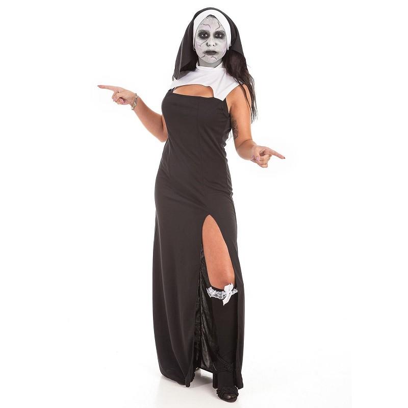 Disfraz Vestido Monja Set Maquillaje