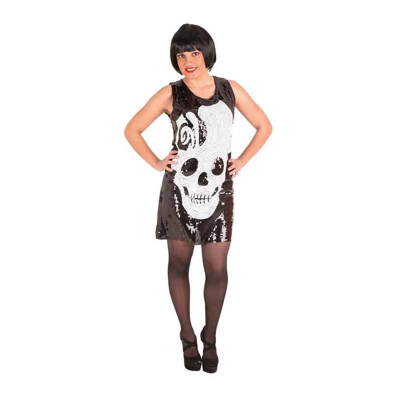 2f5f5c88068 Disfraz de Vestido Calavera de Lentejuelas para Mujer - MiDisfraz