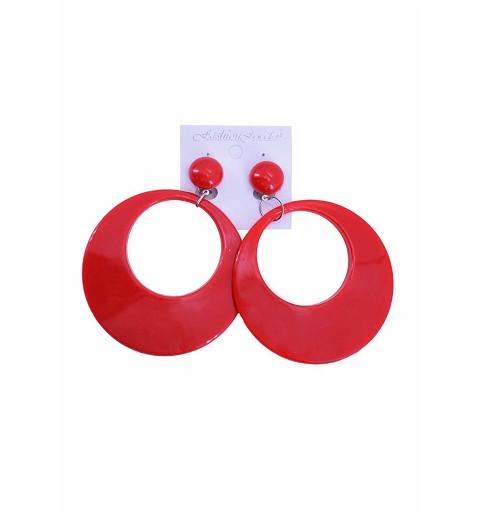 Pendientes Aro Sevillana Rojos 12 cm