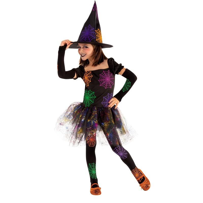 Disfraz de Bruja con Telarañas de Colores para Niña - MiDisfraz 1597a69bfa6