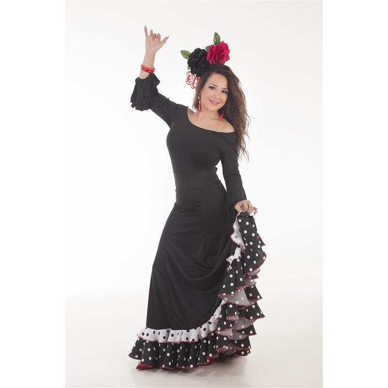 nuevo estilo b145c 7cf24 Falda Sevillana Blanco/Negro Baile