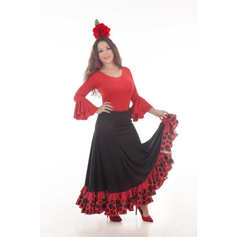 fotos oficiales 1c8db 33b3d Falda Sevillana Negro/Rojo Baile