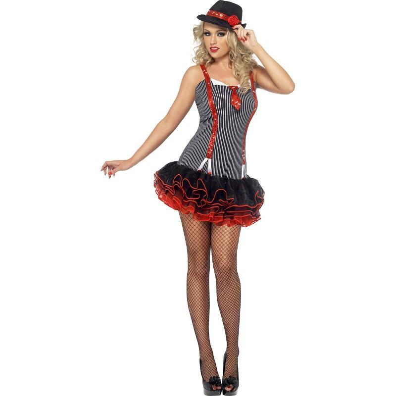 b2a24c26f Disfraz Rojo y Negro de Gángster Clásica para Mujer - MiDisfraz
