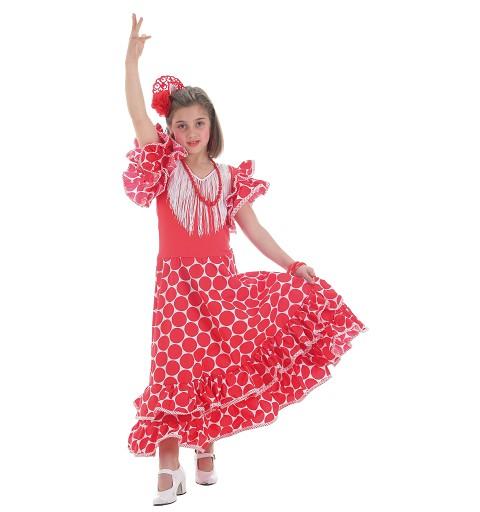 Disfraz Sevillana Topos Rojo Infantil