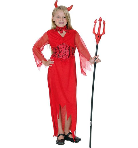 Disfraz Diablesa Roja Manga Tul Infantil