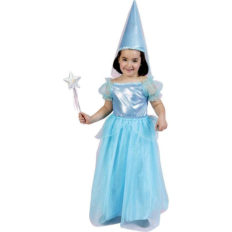 159fc6737 Disfraz de Princesa Azul con Gorro y Velo para Niña - MiDisfraz