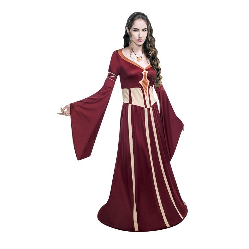 Disfraz Rojo De Dama Medieval Con Collar Para Mujer Midisfraz