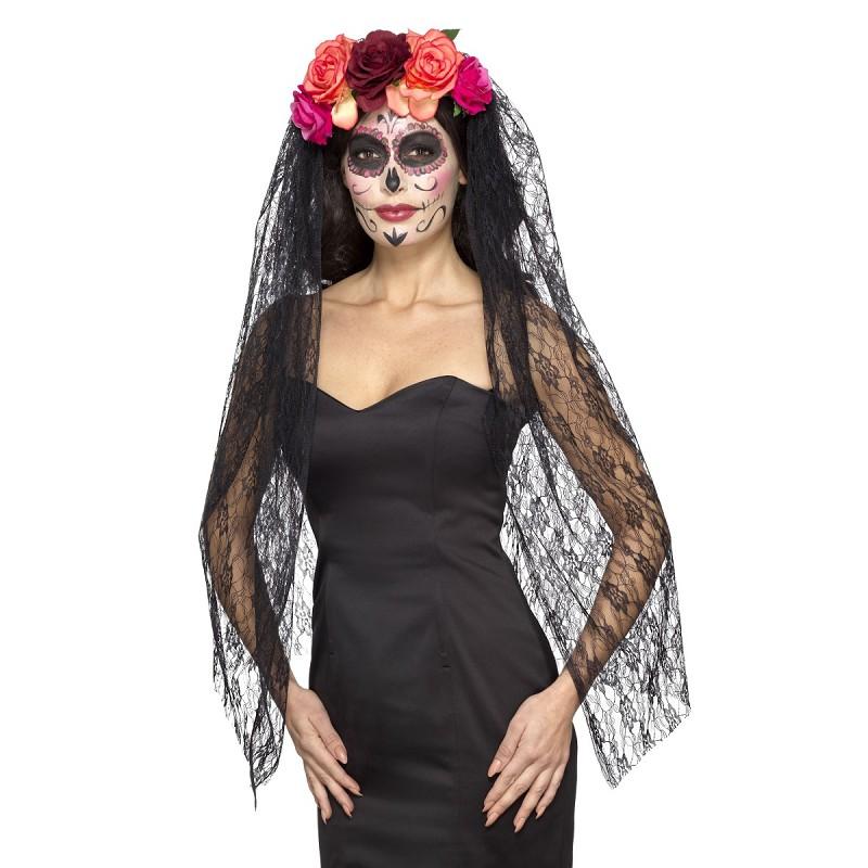 Corona De Rosas Con Velo Negro De Catrina Para Mujer Midisfraz