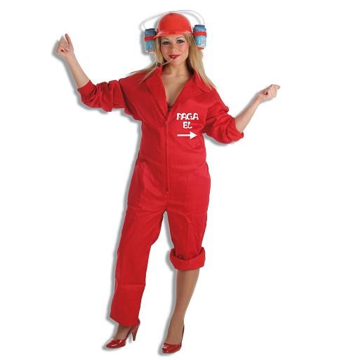 Disfraz Currante Rojo T-L Con Casco Adulto