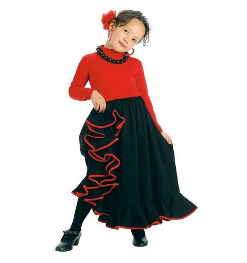 Falda Rociera Negra para Niña