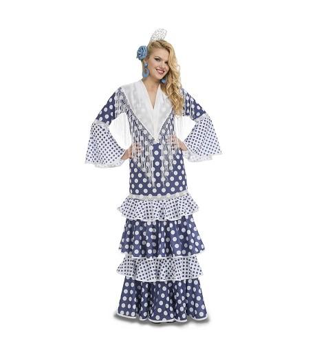 Disfraz Flamenca Leá Azul S...