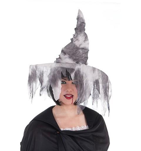 Sombrero Bruja Gris Rasgado