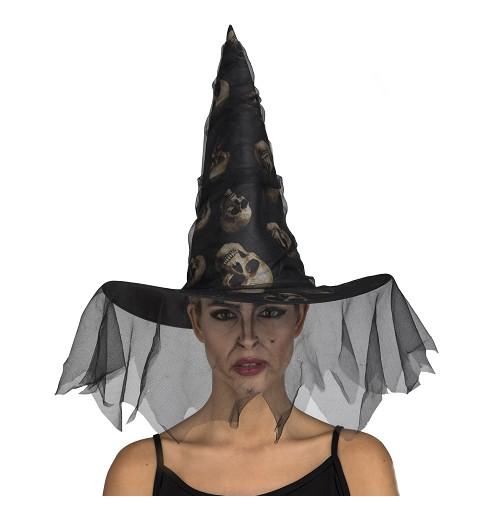 Sombrero Bruja Tul Calaveras