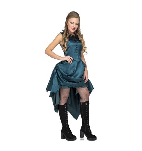 Disfraz Chica Saloon Azul...