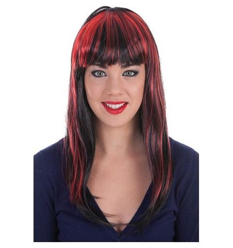 Peluca Mechas Rojo-Negro