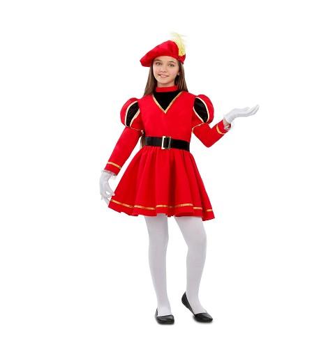 Disfraz de Paje Rojo para Niña