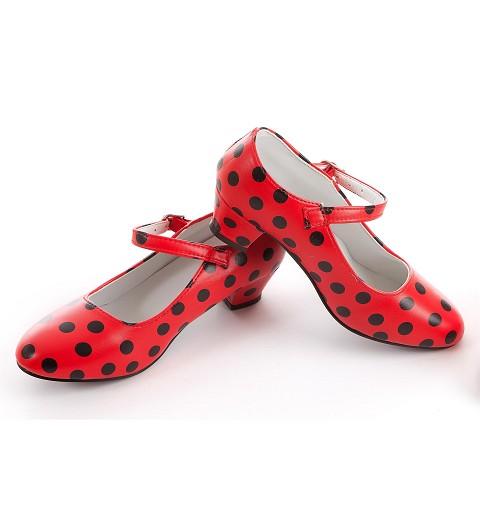 Zapato Flamenca Rojo Lunares